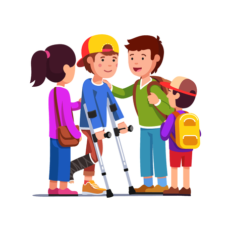 Friends supporting boy with bandage on broken leg Stock Illustratie
