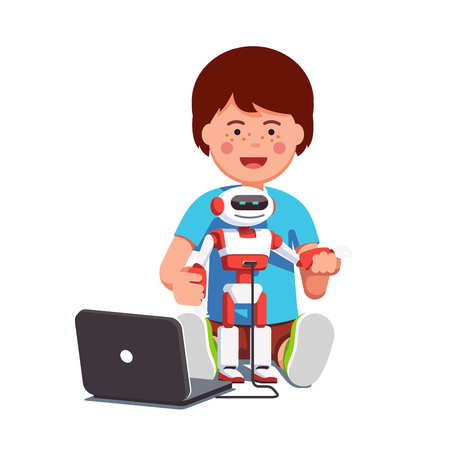 Boy setting up humanoid robot connected to laptop  イラスト・ベクター素材