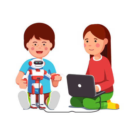 Kids setting up robot connected to laptop computer Vettoriali