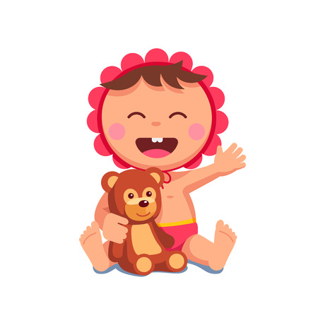 baby playing toy: Baby girl laughing sitting embracing teddy bear Illustration
