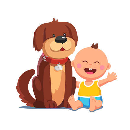 Baby boy sitting together with big brown dog