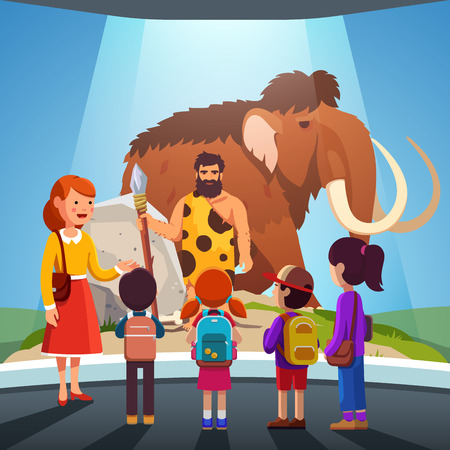 Kids watching big mammoth and caveman at museum Vectores