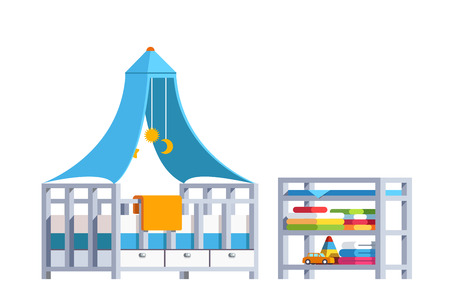 Kid bedroom with toddler crib, rack and toys