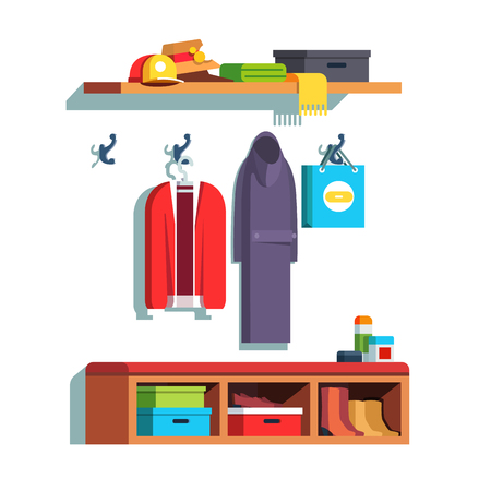 Home hallway interior with wall hooks and shelves Illustration