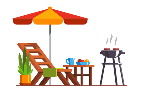 Backyard design with lounger and grill for bbq Illustration