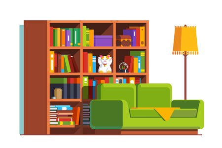 Home living room with sofa, big bookcase and lamp