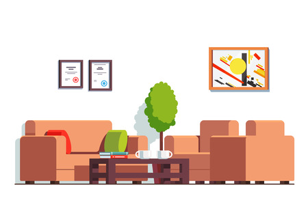 Office or clinic waiting room with coffee table Illustration