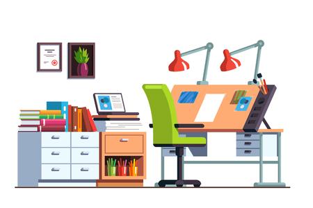 Workshop or engineer office room with drawing desk Ilustração