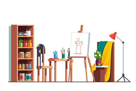 Painter artist workshop with canvas, easel, paints