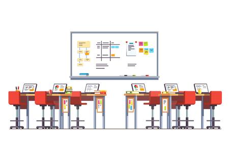 Modern technology class room with standing desks