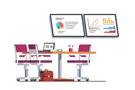 Modern business office boardroom with table Ilustração