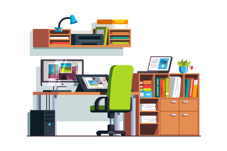 screen: Illustrator and designer room with graphic tablet