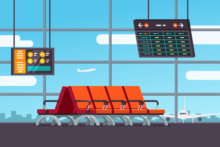 screen: Airport waiting room or departure lounge