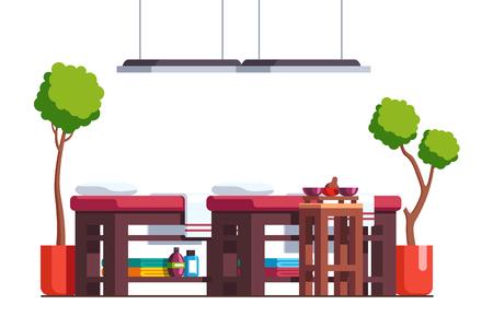Massage room cabinet or spa salon with tables Ilustração