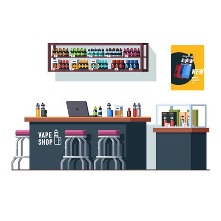 Modern vape shop with counter desk and storefront Ilustração