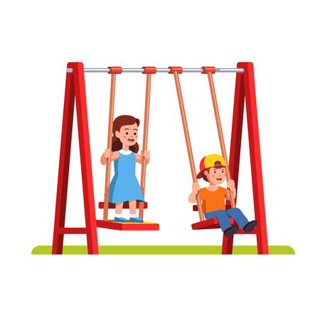 Boy and girl swinging on swing on playground Ilustração