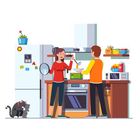 Wife pouring soup with ladle into bowl for husband Vector illustration. Ilustração