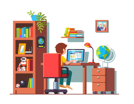 Student boy sitting at desk, doing school homework Vector illustration.