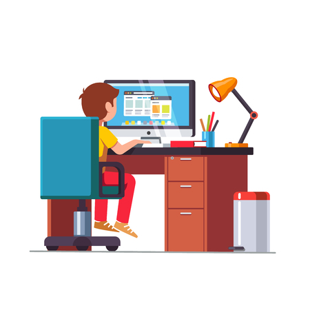 Student boy sitting at desk, doing school homework Vectores