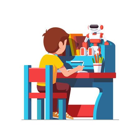 School boy studying sitting at blue child desk