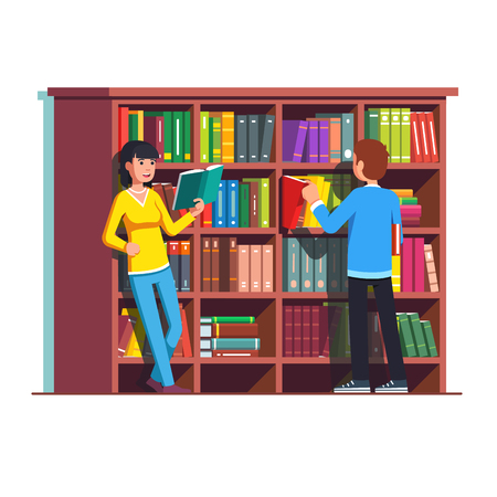 Two people standing in front of wooden bookcase
