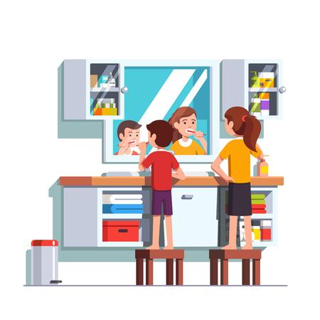 Kids brushing teeth with toothbrushes together Vector illustration. Ilustração