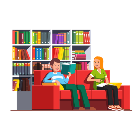 Family couple reading books sitting on couch.