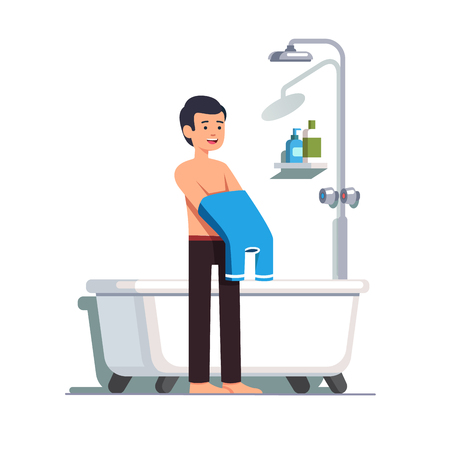 Man putting off his shirt before bathing
