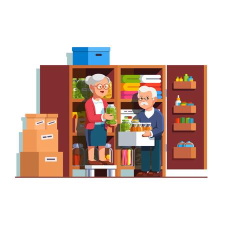 Retired family couple working at home pantry. Ilustração