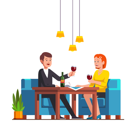 Loving family couple sitting at restaurant table Ilustração