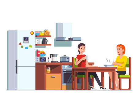 Two girls eating lunch together at home kitchen Vector illustration.
