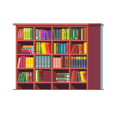 Big library wooden bookcase full of books Ilustração