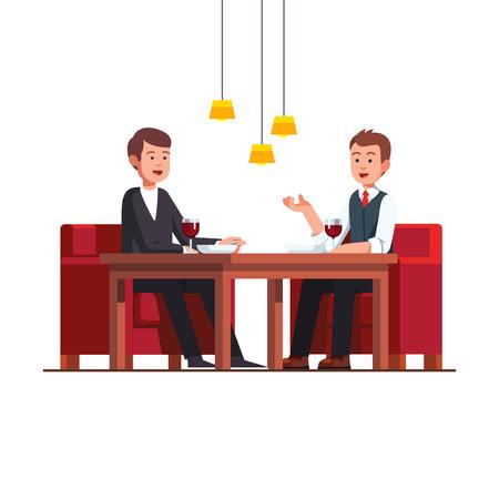 Two business man eating lunch at restaurant Vector illustration. Ilustração