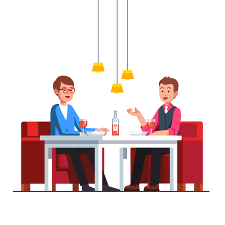Loving homosexual couple sitting at restaurant table