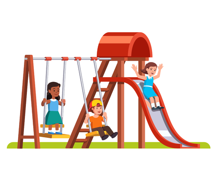 Happy kids playing on the  playground Vector illustration. Illustration