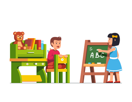 Kids studying in a classroom, Vector illustration.