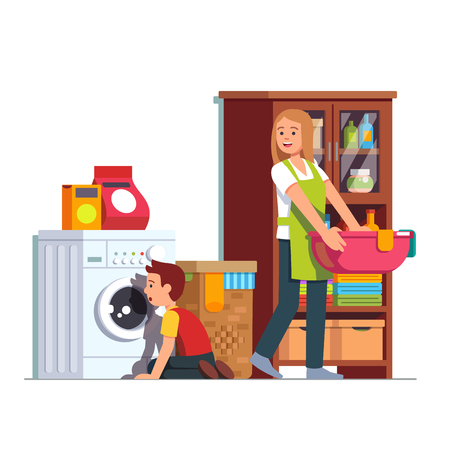 Mother doing housework at home laundry room. Kid sitting in front of washing machine watching drum. Housewife woman carrying clean clothes basin. Mom, son do chores together. Flat vector illustration. Vettoriali