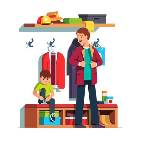 Father getting dressed putting on jacket or coat, son sitting tying sneaker shoes laces. Иллюстрация