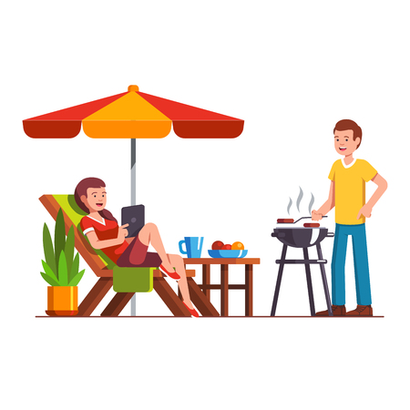 Husband doing barbecue grilling meat outdoors, wife lying on lounger under parasol. Man and woman family couple relaxing outside coking bbq. Home backyard paprty. Flat cartoon vector illustration. Ilustração