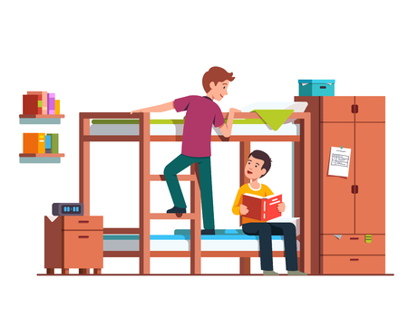 Student boy climbing up bunk bed ladder.   Flat vector illustration. Vettoriali