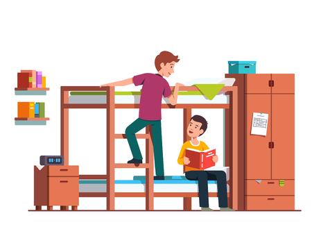 Student boy climbing up bunk bed ladder.   Flat vector illustration. Stock Illustratie