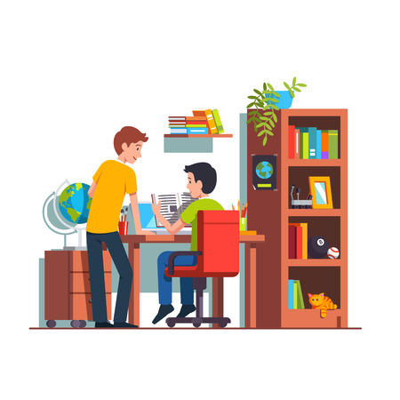 Two student friends studying doing homework together at home kid room. Teen boy sitting at desk, reading book. University dormitory with wooden table, bookcase, chair. Flat style vector illustration. Ilustração