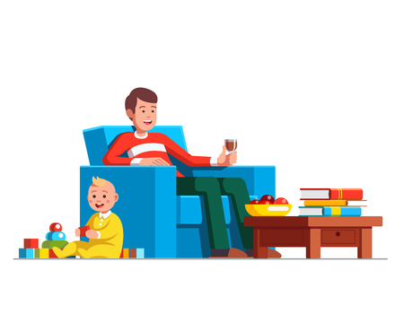 Father drinking red wine and looking after little baby son playing toys. Ilustração