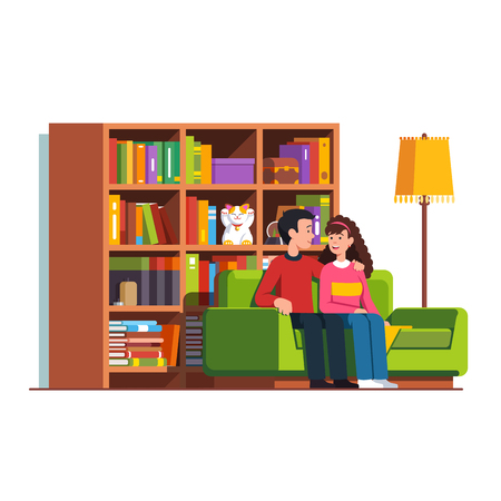 Husband and wife sitting on sofa together. Home living room couch, big bookcase full of books. Flat vector illustration.