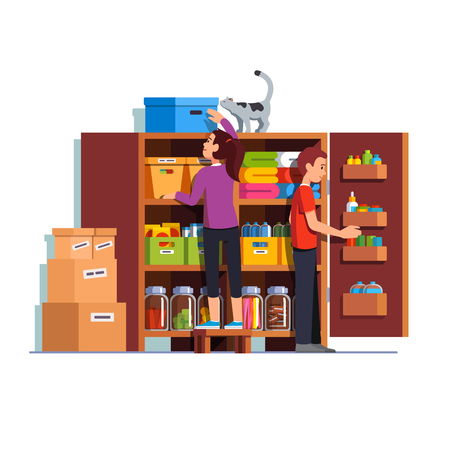Family couple man, woman working together putting boxes to home pantry or cellar cupboard shelves. Storage room things and bottles. Flat style cartoon vector illustration isolated on white background.
