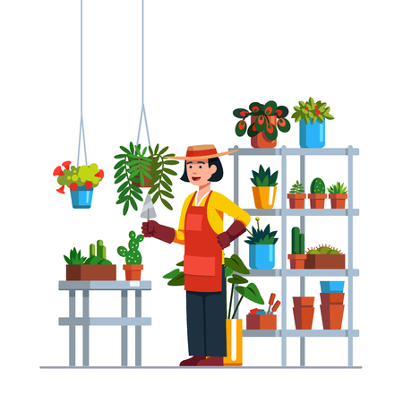 Woman gardener or florist working in botanical garden or home backyard terrace orangery, planting flowers. Rack, plants in pots, hanging baskets. Flat vector illustration isolated on white background. Ilustração