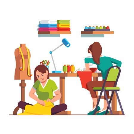 Woman dressmaker stitching, seamstress working Vector illustration. Ilustração