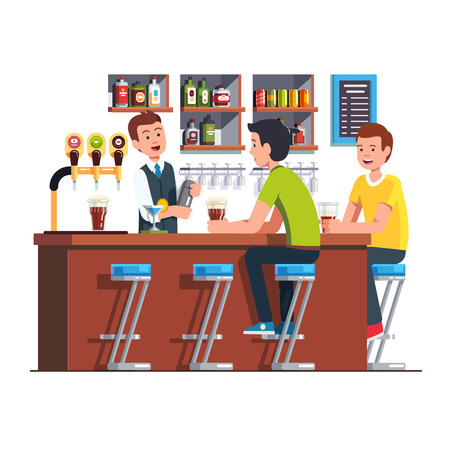 Bartender serving client. Barman making cocktail Vector illustration. Çizim