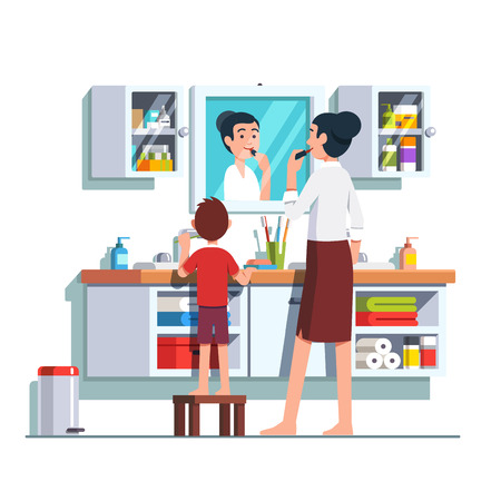 Mother and son getting ready together. Home bathroom interior with vanity cabinet. Standard-Bild - 96282644