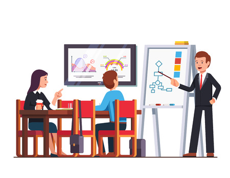 Business man teacher giving lecture or presentation to employees sitting at board room desk. Boss showing diagram pointing at whiteboard. Conference hall with tv screen. Flat style vector illustration